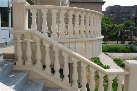 Beige limestone villa wall cladding and railing projects